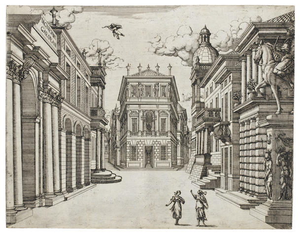 After Giacomo Torelli (Italian, 1608-1678) Stage designs Engravings of scenes from 'Il Bellerofonte' 1642, 'Venere Geloso' 1643, 'Deidamia' 1644, plus a frontispiece for 'La Finta Pazza' 1645, on laid, 242 x 320mm (9 1/2 x 12 5/8in)(PL)  11 unframed