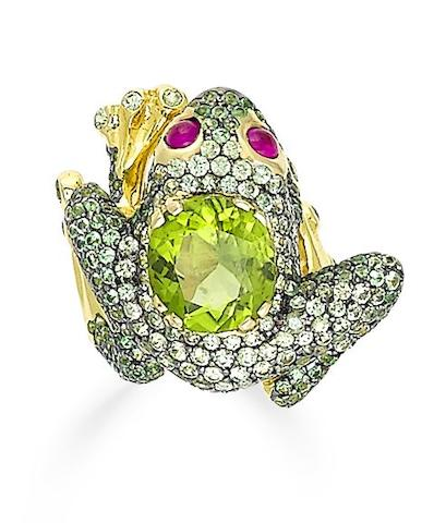 A demantoid garnet, peridot and ruby ring