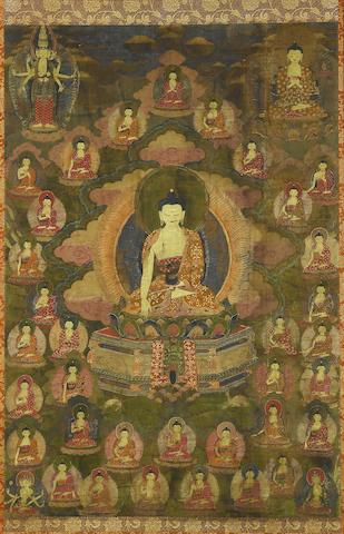 A Tibetan thangka of Shakyamuni Buddha and the Thirty-five Confession Buddhas 18th Century