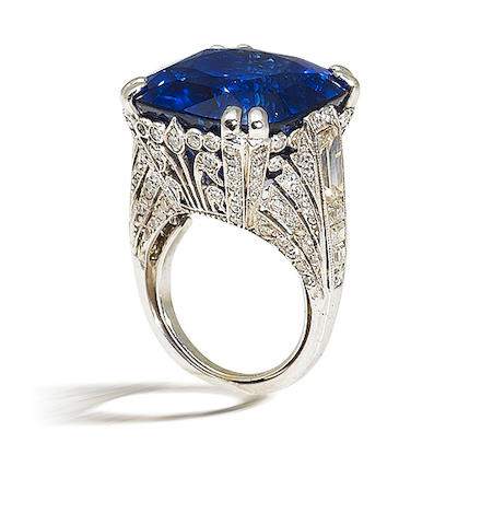 A sapphire and diamond ring, by Chantecler