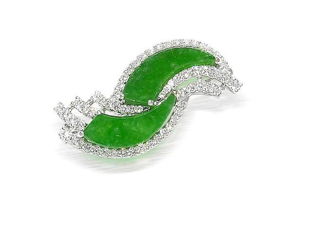 A jadeite and diamond brooch