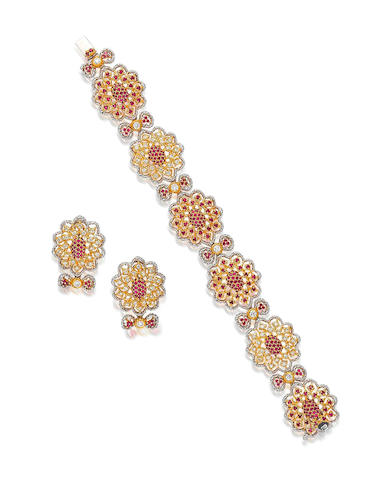 A ruby and diamond bracelet and earring suite (2)