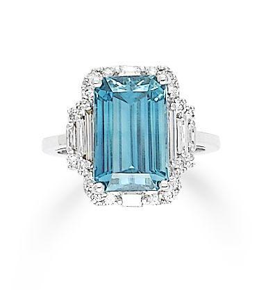 A zircon and diamond ring