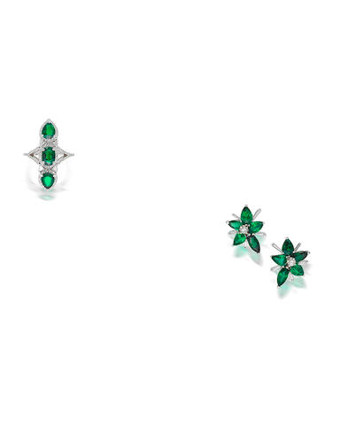 A pair of tsavorite garnet and diamond earrings and a tsavorite garnet and diamond ring (2)