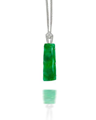 A jadeite and diamond brooch/pendant necklace