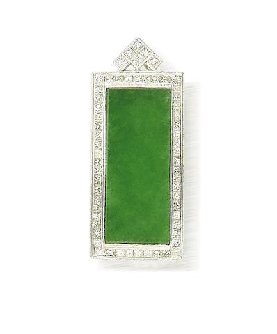 A jadeite jade and diamond pendant