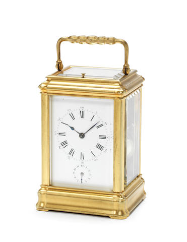 A late 19th century French gilt brass grande sonnerie carriage clock Henri Jacot, number 7215