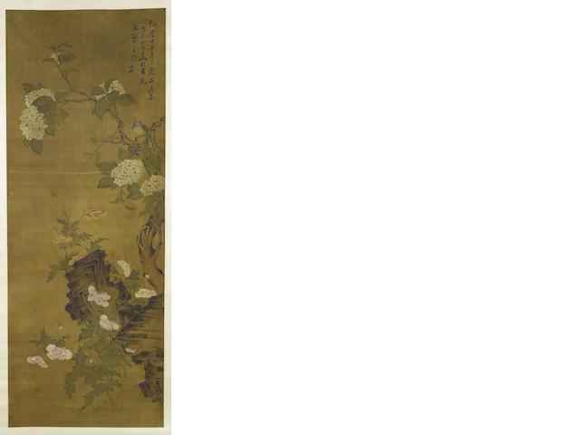 Attributed to Zou Yigui (1686-1772) Bird and Flowers