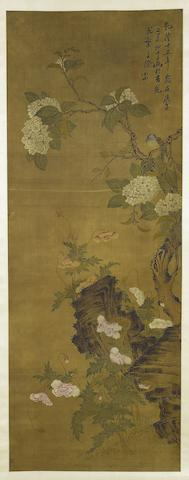 Attributed to Zou Yigui (1686-1772) Bird and Flowers