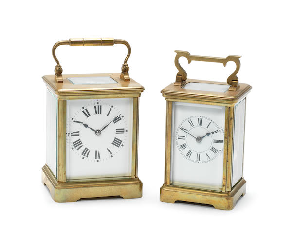 An early 20th century French gilt brass carriage clock