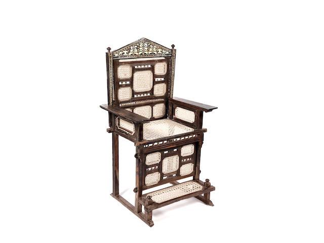 A rare Swahili Coast high-backed armchair, kita cha enzi East Africa 74 x 59 x 125cm