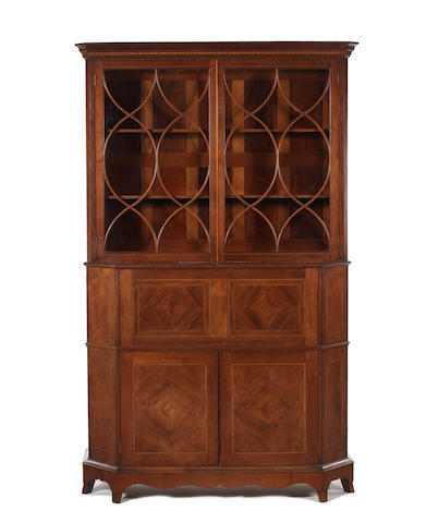 Morris & Co: A mahogany secretaire bookcase designed by Geroge Jack, stamped 1398.