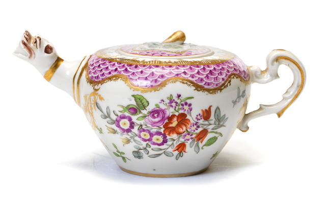 An Ansbach small teapot and cover, circa 1760-65