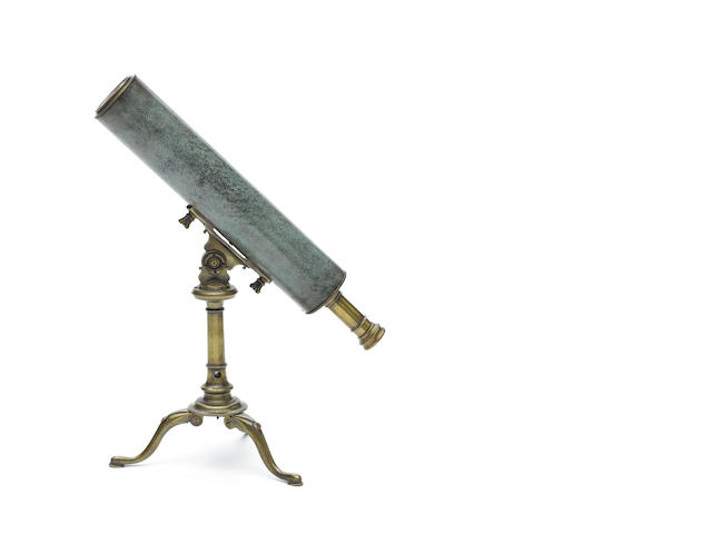 A George Adams Snr. shagreen covered telescope on brass stand, for inclusion in Gentlemans Library sale Jan 2012