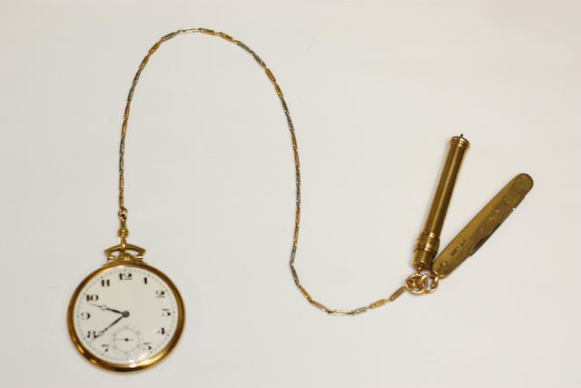 An 18ct gold slim pocket watch and Albert chain suspending a 9ct gold penknife and propelling pencil