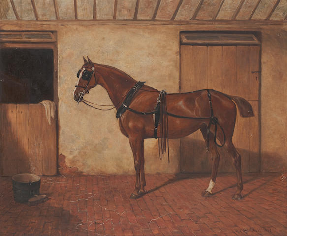 William Elstob Marshall (British, late 19th Century) A bay horse in a stable