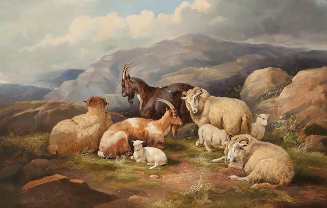 Follower of Thomas Sidney Cooper, RA (British, 1803-1902) Sheep and cattle on a mountainside