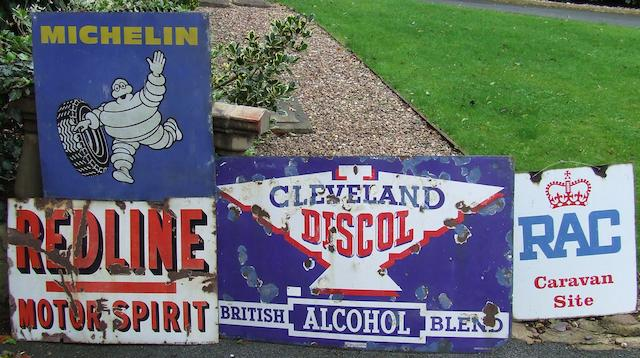 Three enamel garage signs,