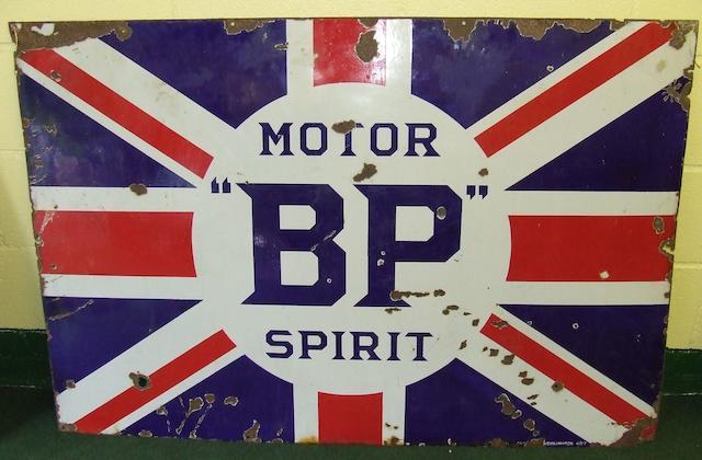"A ""BP"" Motor Spirit enamel sign,"