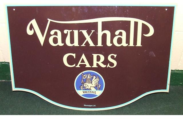 A Vauxhall Cars double-sided showroom sign,
