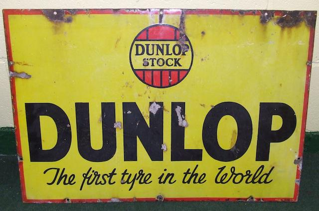 "A Dunlop Stock ""The First Tyre in the World"" enamel sign,"