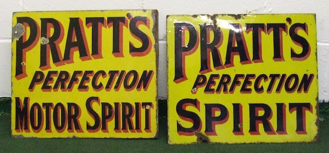 Two Pratts Perfection double-sided enamel signs,
