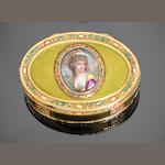 A late 18th century gold and enamelled oval snuff box, bearing 'prestige' marks, a maker's mark of N O(?) C(?), the charge mark similar to that of Jean-Jacques Prevost, a date letter J and a plover head discharge mark similar to that of Henri Clavell, possibly Hanau production,