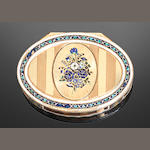 A 19th century German gold and enamelled oval snuff box, Hanau production, maker's mark of M S crowned, marks similar to the charge marks of J Alaterre and J-B Fouache, and the shell 'discharge' mark to the rim for 18 carat gold, also with a Linz post-1891 import mark,