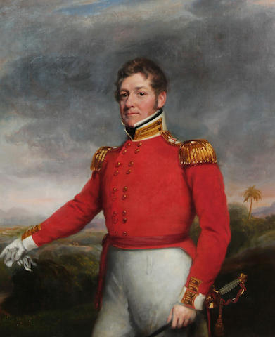 Circle of George Chinnery RHA (British, 1774-1852) Portrait of an officer of the 32nd Regiment of Foot, a view of India beyond