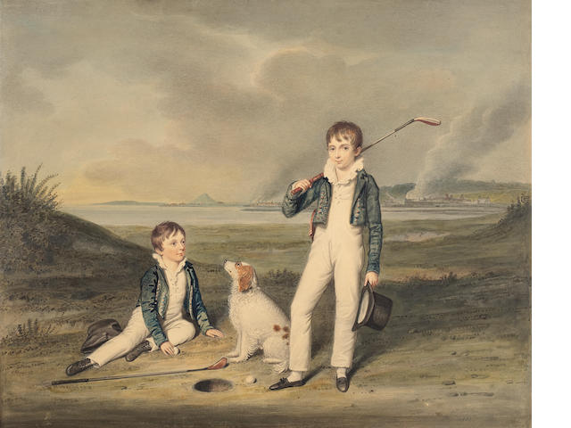 William Douglas (British, 1780-1832) Two boys with golf clubs and a dog on Musselburgh Links