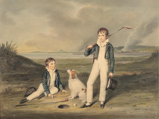 William Douglas (British, 1780-1832) Two boys with golf clubs and a dog on Old Musselburgh Links 33.5 x 41 cm. (13 3/16 x 16 1/8 in.)