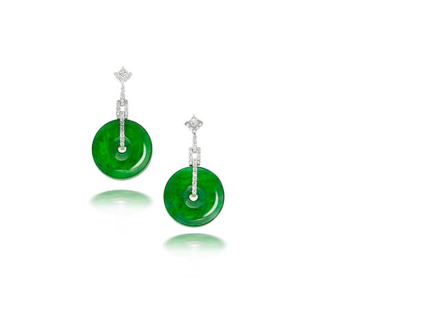 A fine pair of jadeite and diamond earrings
