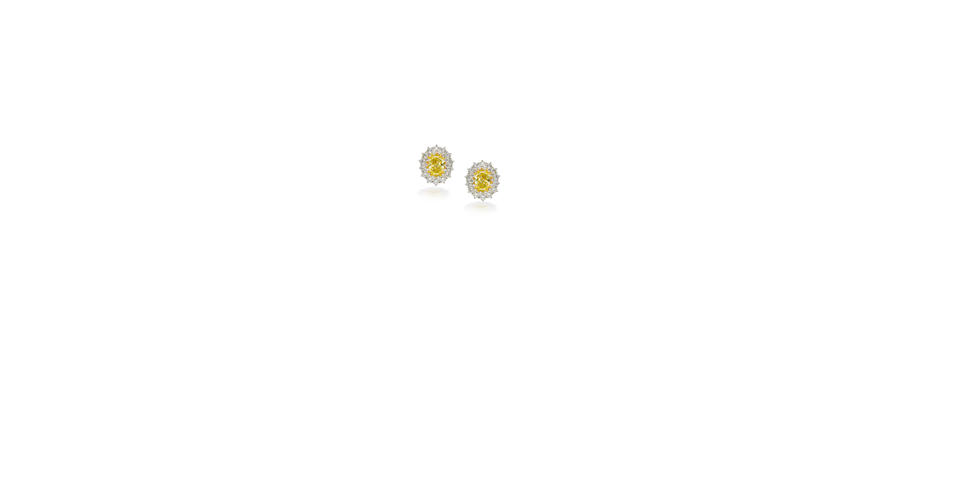 A pair of coloured diamond and diamond ear clips