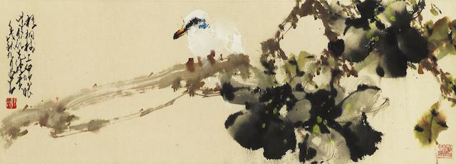 Zhao Shao'ang (Chao Shao'ang, 1905-1998) Pigeon on Parasol Tree