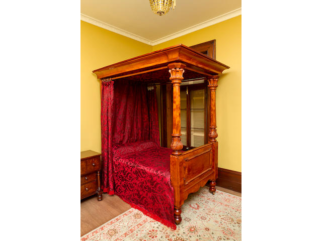 A fine Australian  birds-eye huon and huon pine four poster bed Tasmania, circa 1860