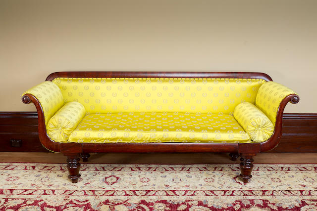 An Australian  cedar and upholstered scroll ended sofa by Joseph Sly circa 1845