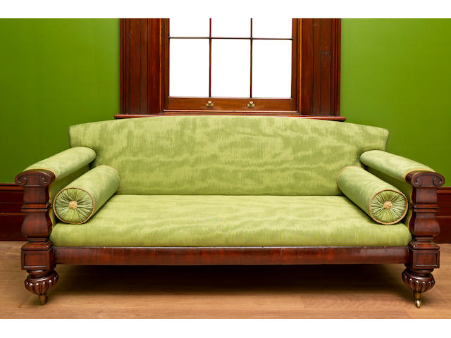 A rare Australian  cedar and upholstered  sofa after a George Smith designcirca 1835