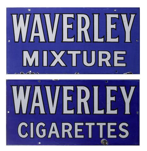 A pair of Waverley Tobacco enamel advertising signs,