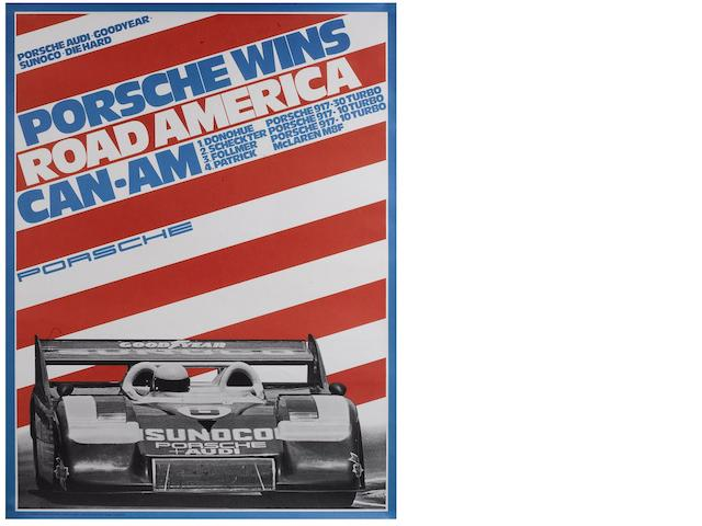 A Porsche Wins Road America Can-Am advertising poster by E A Strenger, August 1973,