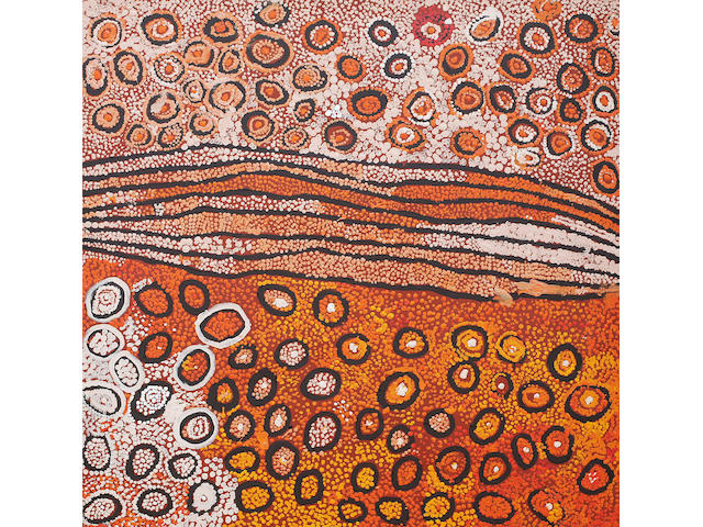 Naata Nungurrayi (born circa 1932) Untitled (Designs Associated with the Rockhole and Soakage Water Site of Marrapinti)
