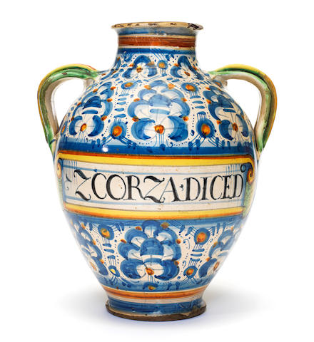 A Montelupo two-handled jar, 17th century (restoration to neck)