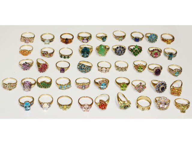 A large assorted dress rings,  variously set with gems and synthetic gems. (46)
