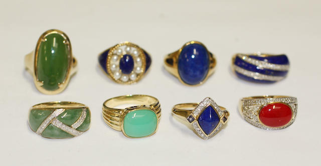 Eight assorted hardstone and gem set dress rings  of various designs, set with lapis lazuli, small cultured pearls, diamonds, coral, etc. (8)