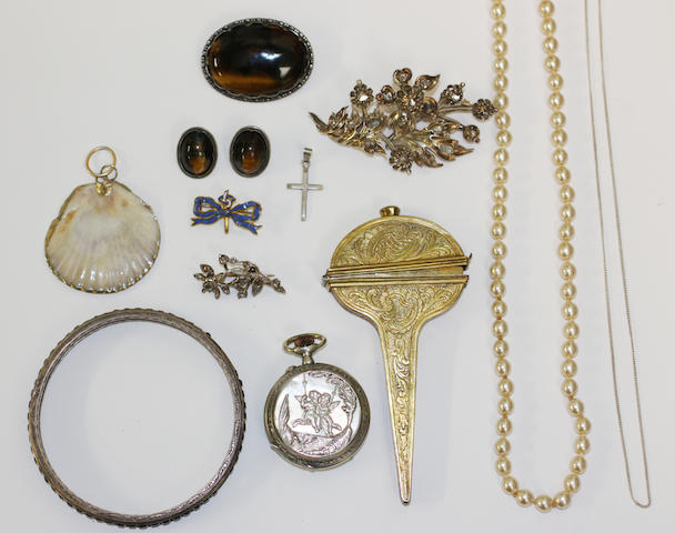 A collection of assorted jewellery, including a 19th century foliate spray brooch set with rose and lasque-cut diamonds, a similar smaller brooch, a silver mounted tiger's eye brooch and similar earclips, a paste set bangle, a fob watch, a simulated pearl necklace, etc