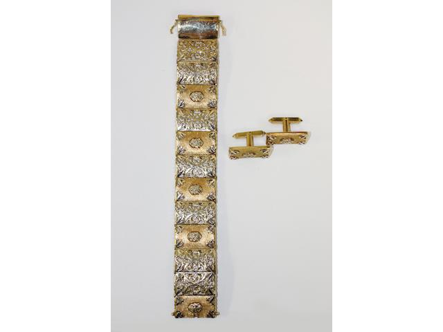 A panel bracelet and matching cufflinks,