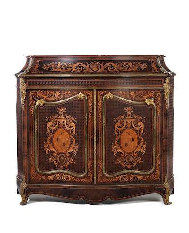 A French 20th century marquetry meuble à hauteur d'appui