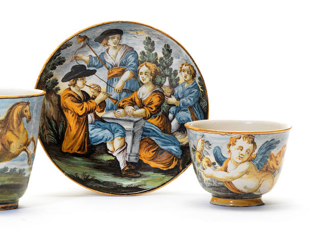 A Castelli maiolica cup and saucer