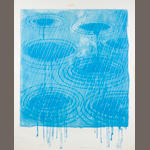 David Hockney (British, born 1937) Weather Series - Rain Lithograph with screenprint, 1973,  printed in colours, on Arches, titled above in red crayon, signed, dated and inscribed 'AP II' in green crayon, a proof aside from the edition of 98, printed by Dan Freeman and Jim Webb, published by Gemini GEL, Los Angeles, with the blindstamp lower right, 990 x 800mm (39 x 31 1/2in)(SH)