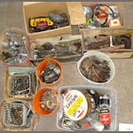 A good autojumbler's lot of miscellaneous motorcycle spares,
