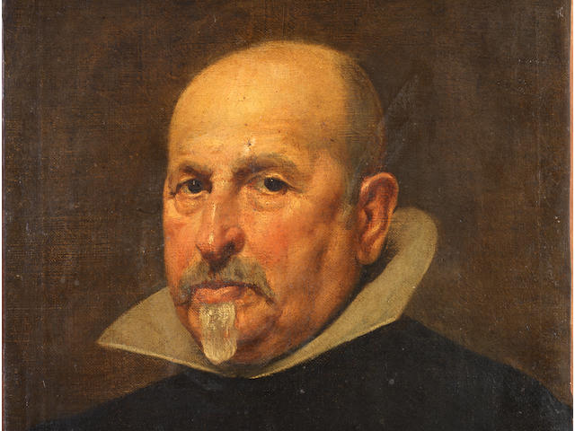 Diego Rodríguez de Silva y Velázquez (Seville 1599-1660 Madrid) Portrait of a gentleman, bust-length, in a black tunic and white golilla collar unframed